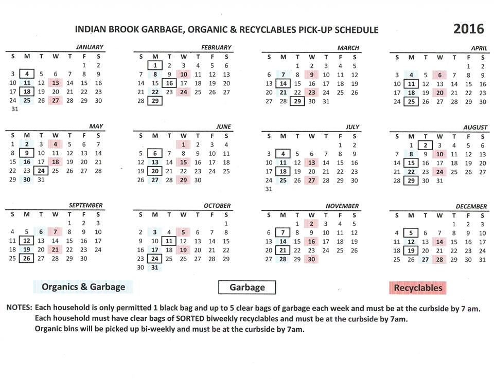 Garbage and recycle schedule